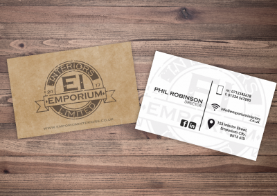 Business card design for Emporium Interiors