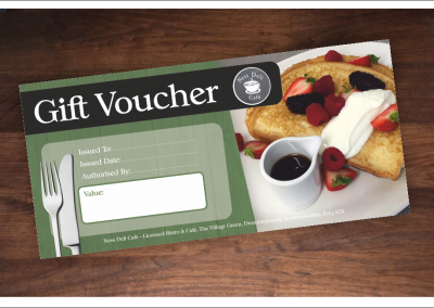 Ness Deli Cafe gift voucher design and printed