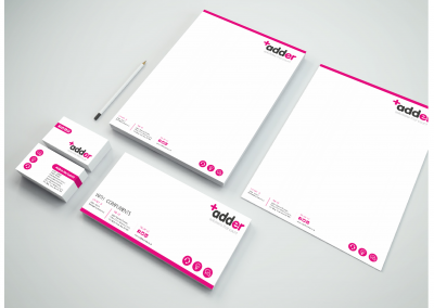 Business card design, letterhead design and compliment slip design by Highland Graphics for Adder business.