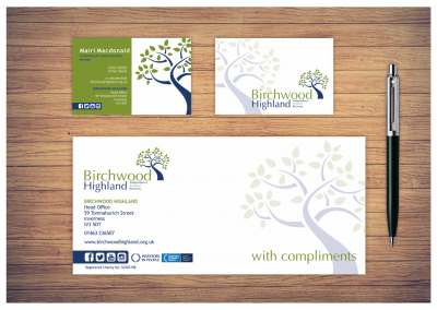 Birchwood Highland business card design and letterhead design
